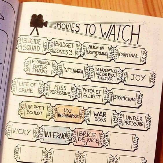 movies to watch bullet journal
